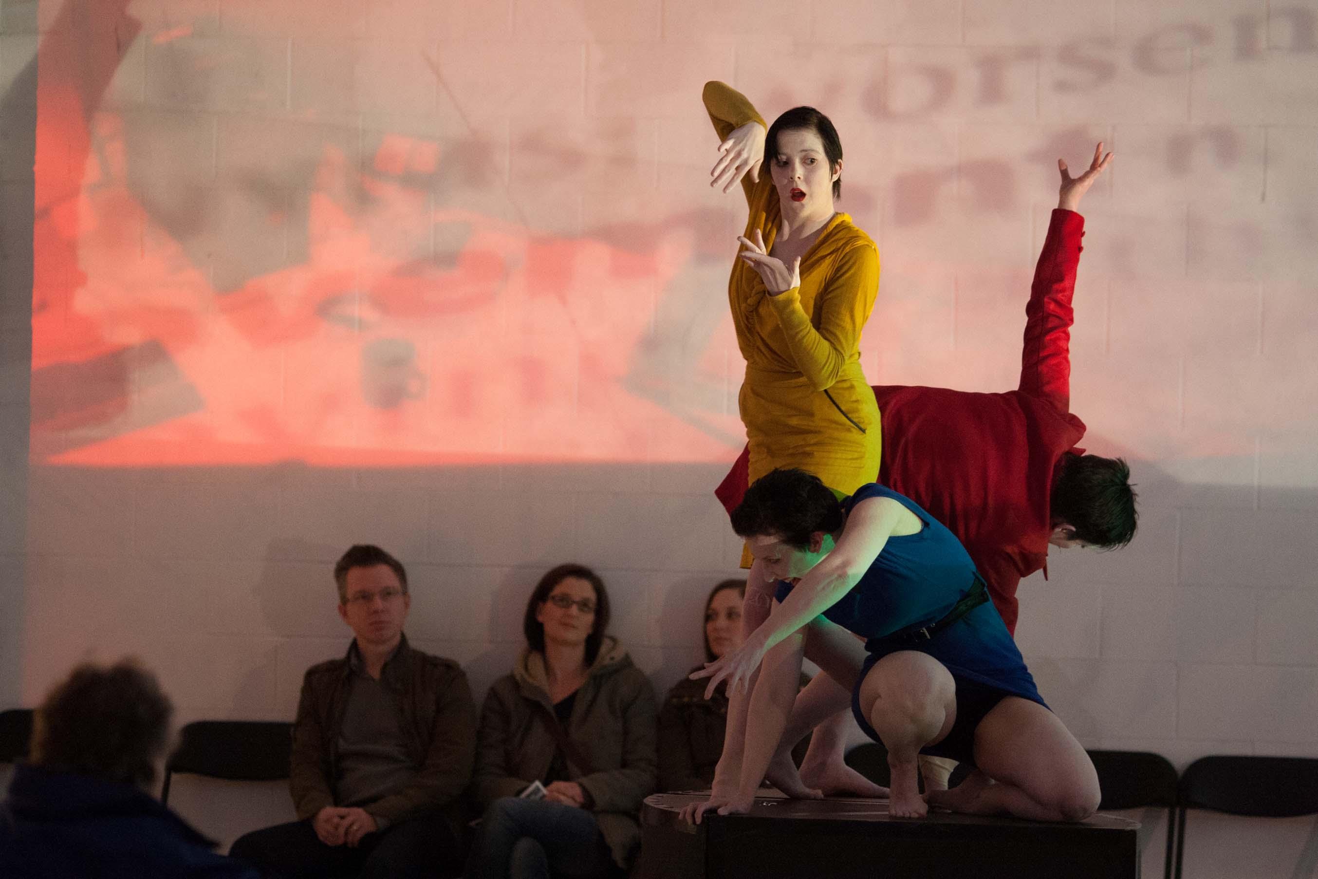 Emily McCourt, Elan Pratt and Val Duncan in HOW TO WIN FRIENDS (Photo: Dean Mullin)