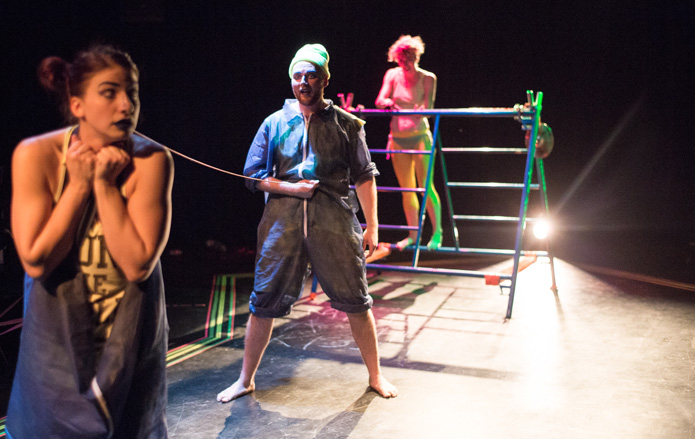 Kayla Bigras, Celene Harder and Zakk Macdonald in THE ELEPHANT CALF (Photo: Chris Tait)